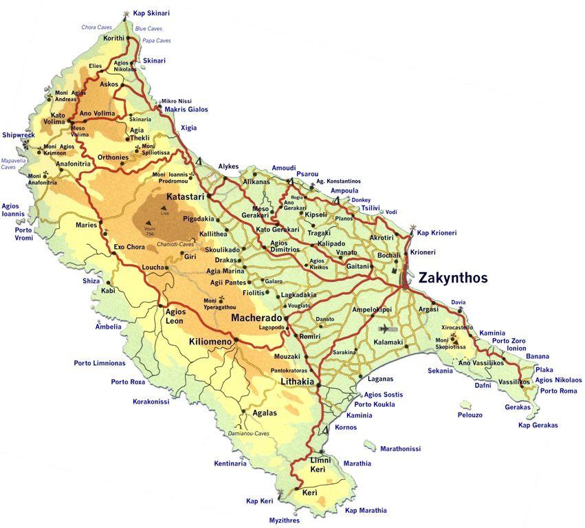 Karte von Zakynthos